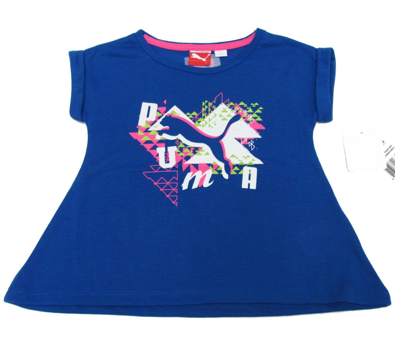 Puma Girls 2T Blue T-shirt with Glitter Logo Short Sleeve Tee Shirt New