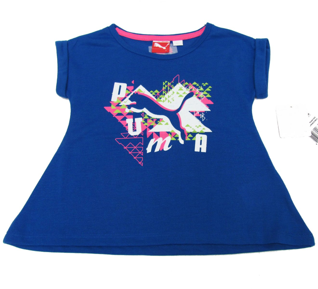 Puma Girls size 4 Blue T-shirt with Glitter Logo Short Sleeve Tee Shirt New