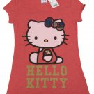Hello Kitty Juniors M HK Plaid Side Sit Tee Shirt Heather Red T-shirt Short Sleeve Medium Sanrio