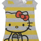 Hello Kitty Juniors S Sitting Stripes Tee Shirt Heather Gray T-shirt Small Sanrio