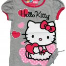 Hello Kitty Girls size 5 Gray and Pink T-shirt with Shirred Side Seam Short Sleeve Tee Shirt