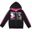 Hello Kitty Girls size 4-5 Black Lightweight Sport Hoodie Zip Sweatshirt Track Jacket