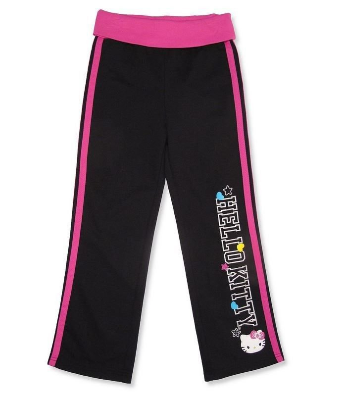 Hello Kitty Girls size 6 Track Pants Kids Sport Lounge Pant Black and Pink New