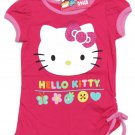 Hello Kitty Girls 2T Garden Tee Shirt Dark Pink Shirred T-shirt Toddler Sanrio New