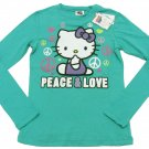 Hello Kitty Girls M Long Sleeve T-shirt Peace and Love Blue Tee Shirt Youth Girl's Medium