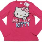 Hello Kitty Girls L Dark Pink Glitter Glam Tee Shirt Long Sleeve T-shirt Youth Large