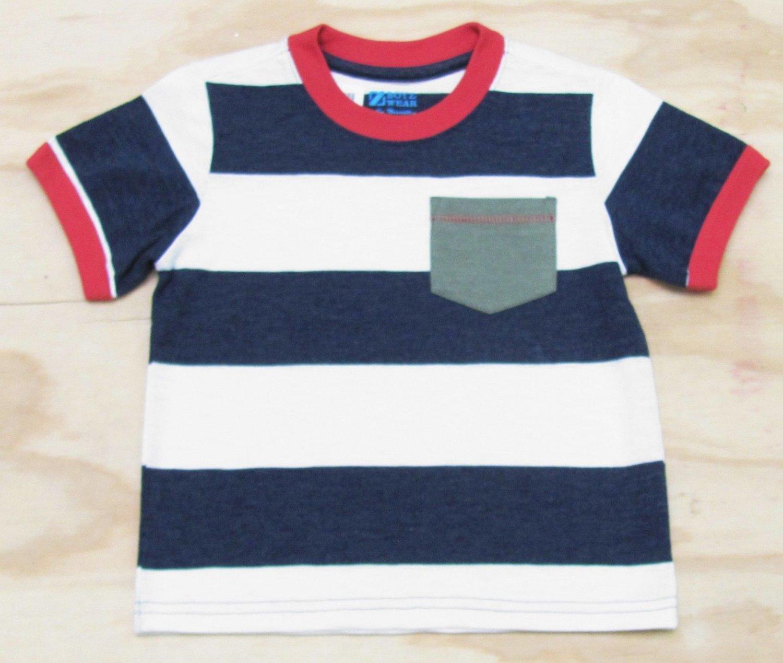 Z Boyz Wear by Nannette Boys size 7 Navy Blue and White Stripe Pocket T-shirt Short Sleeve Tee Shirt
