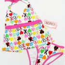 XOXO Girls size 5 Heart Print 2-Piece Halter Tankini Swim Suit White Pink New Kids Swimsuit