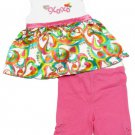XOXO Girls Size 5 Silky Rainbow Swirl Shirt and Pink Bermuda Shorts 2-Piece Set