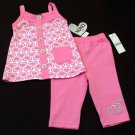 XOXO Baby Girls 18 Months Pink Heart Tank Top Shirt and Pants 2-Piece Set New