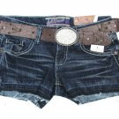 Walllfower Juniors Size 0 Blue Jean Shorts with Faux Leather Brown Belt Denim