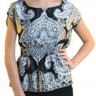 Wet Seal Juniors XS Silky Black and White Paisley Print Dolman Blouse Top Shirt New Extra Small