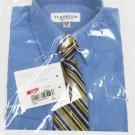 Van Heusen Boys Size 4 Blue Dress Shirt with Gold Stripe Clip-On Neck Tie Set