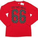 Vans Mens S Number Long Sleeve Tee Shirt Red T-shirt with Gray and Black Logo Small New