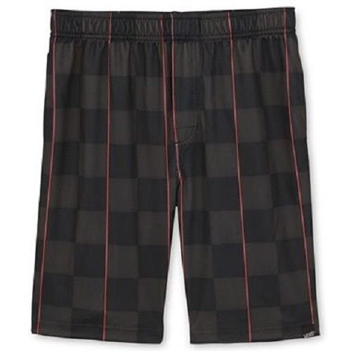 Vans Boys XL Black and Gray Checker Gym Shorts Plaid Herringbone Athletic Shorts Youth New