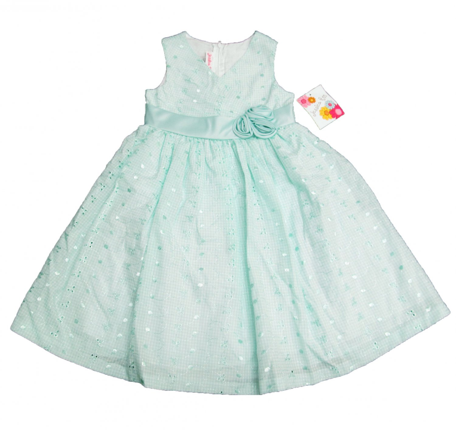 Jessica Ann Girls size 6 Mint Green Gingham Dress Sleeveless Eyelet Spring Summer New