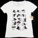 Princess Vera Wang Juniors XS Shadow Puppet Bead Tee Shirt Off-White New