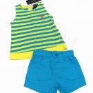 US Polo Assn Girls 24 Mos Yellow Stripe Tank Top Shirt and Blue Shorts 2-Piece Set