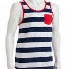 Urban Pipeline Mens XL Navy Blue and White Stripe Tank Top with Pocket