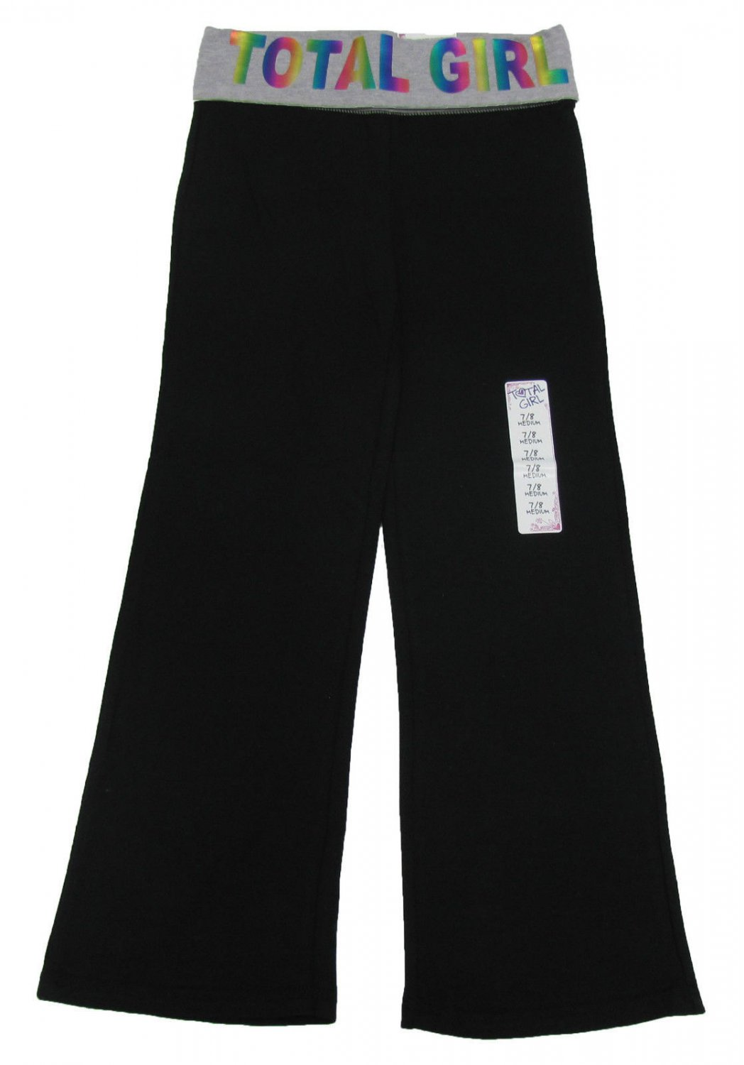 Total Girl size XS 4-5 Black Yoga Pants with Fold Over Waistband Kids New