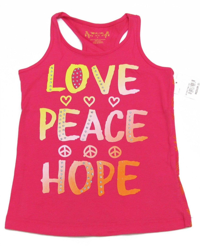 Total Girl Size 5 Love Peace Hope Racerback Tank Top Shirt Pink Kids Medium