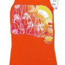 Total Girl Size S 7-8 Sun Shine Tank Top Shirt Orange Ribbed Cotton Sleeveless