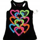 Total Girls size 4 Heart Print Tank Top Black Racerback Sleeveless Shirt Kids