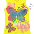 Total Girl Size 6 Butterfly Tank Top Yellow Ribbed Cotton Sleeveless Shirt Kids New