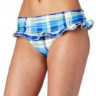 Tommy Hilfiger Womens Size 12 Maddy Skirted Pant Blue Plaid Bikini Bottom New
