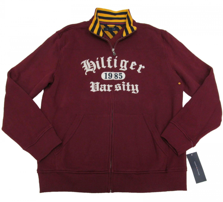 Tommy Hilfiger Mens L Sonoma Red Zip Varsity Sweatshirt Long Sleeve Large