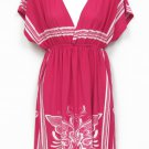 Try Me Once Juniors L Bright Pink and White Empire Tunic Dress Butterfly Print