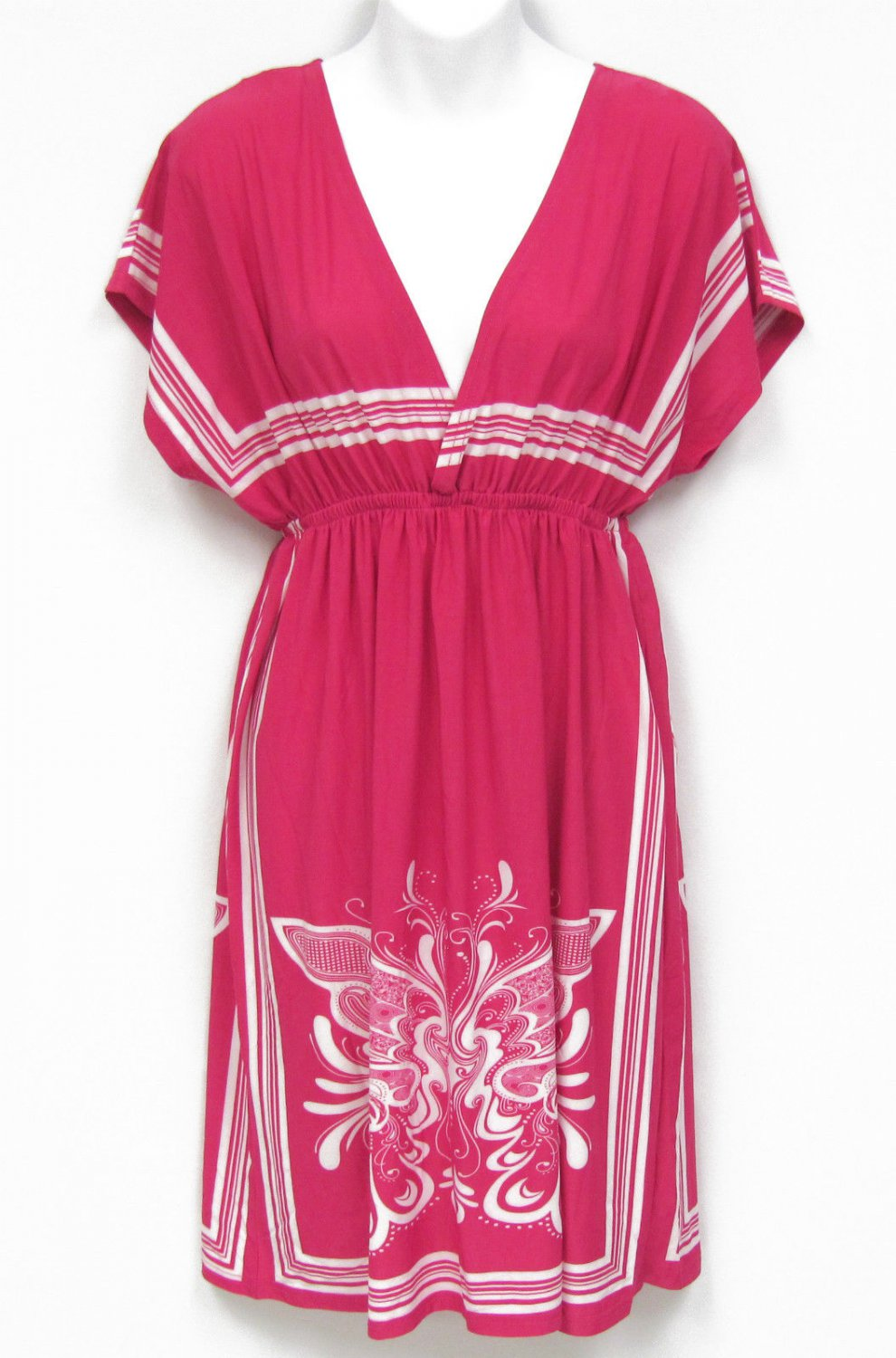 Try Me Once Juniors S Bright Pink and White Empire Tunic Dress Butterfly Print