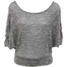 Tres Bien Juniors M Marled Gray Thin Sweater Dolman Shirt Medium New