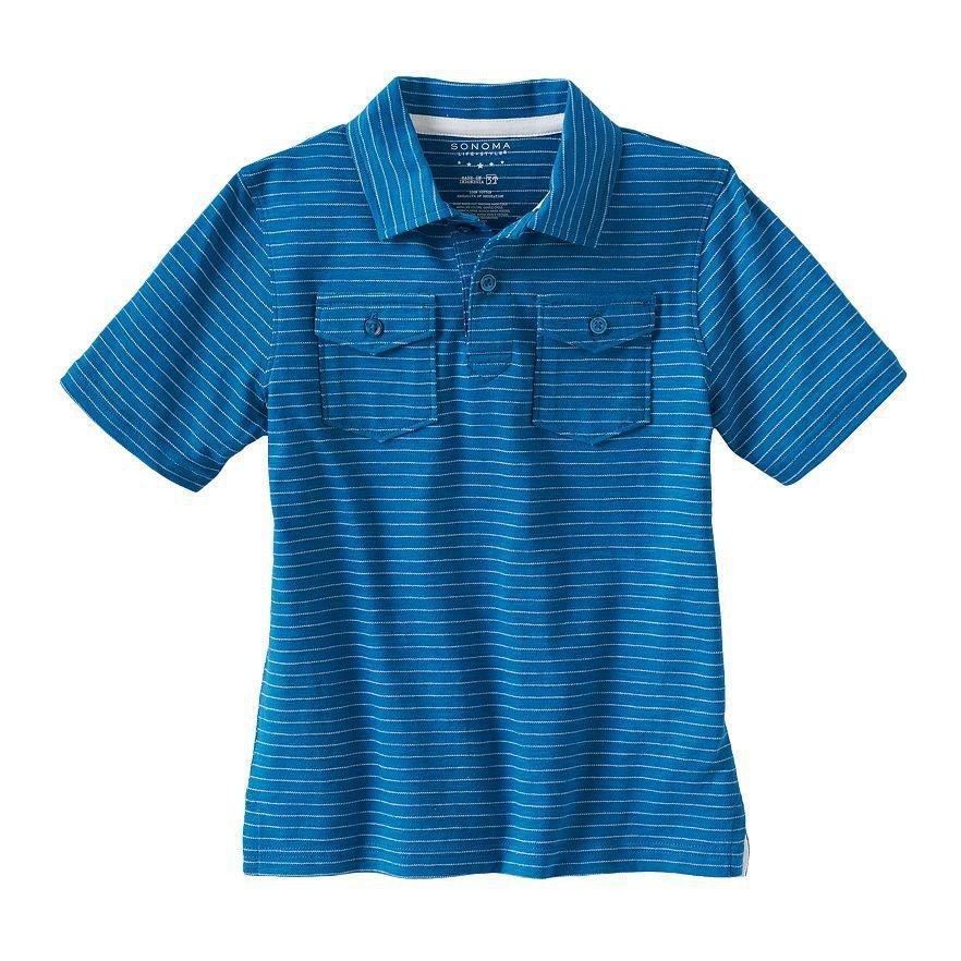 Sonoma Life and Style Boys size 5-6 Blue Stripe Polo Shirt Short Sleeve Kids New