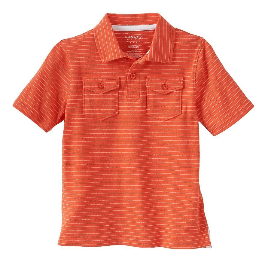 Sonoma Life and Style Boys size 5-6 Orange Stripe Polo Shirt Short Sleeve Kids New