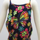 Sonoma Girls size 6X Tank Top Shirt with Smocked Bottom Navy Blue Pink Butterfly Spaghetti Strap