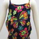 Sonoma Girls size 6 Tank Top Shirt with Smocked Bottom Navy Blue Pink Butterfly Spaghetti Strap