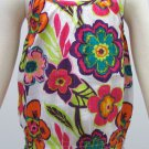 Sonoma Girls size 6X Tank Top Shirt with Smocked Bottom White and Pink Floral Spaghetti Strap