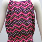 Sonoma Girls size 6X Tank Top Shirt with Smocked Bottom Pink Purple Chevron Spaghetti Strap