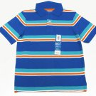 Sonoma Boys size 5-6 Blue Striped Polo Shirt Short Sleeve Pique Stripe Kids New