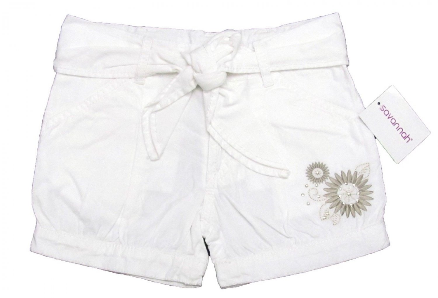 Savannah Girls size 5 White Belted Shorts with Beige Floral Embroidery Kids New