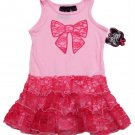 Self Esteem Toddler Girls 4T Pink Bow Sleeveless Dress with Ruffled Lace Skirt Tiered Tank