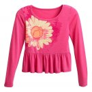 So Girls size 14 Sunflower Tee Shirt Pink Long Sleeve Ruffle Hem Babydoll Shirt