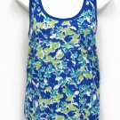 SO Juniors XL Printed Keyhole Racerback Tank Top Shirt Blue Green Pocket Tank