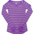 SO Juniors S Purple Stripe Raglan Tee Shirt Long Sleeve Small New