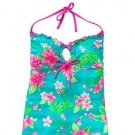 SO Juniors S Teal Blue Floral Halter Tankini Top Halterkini Swim Small New