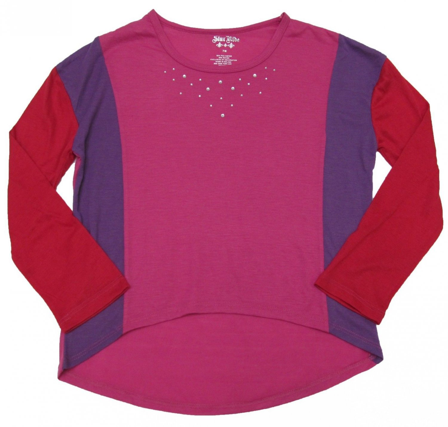 Star Ride Girls size 7-8 Pink and Purple High-Low Long Sleeve Shirt