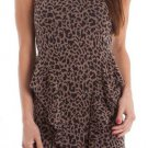 S Line Juniors S Leopard Print Knit Peplum Dress with Criss-Cross Back Sleeveless