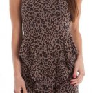 S Line Juniors M Leopard Print Knit Peplum Dress with Criss-Cross Back Sleeveless