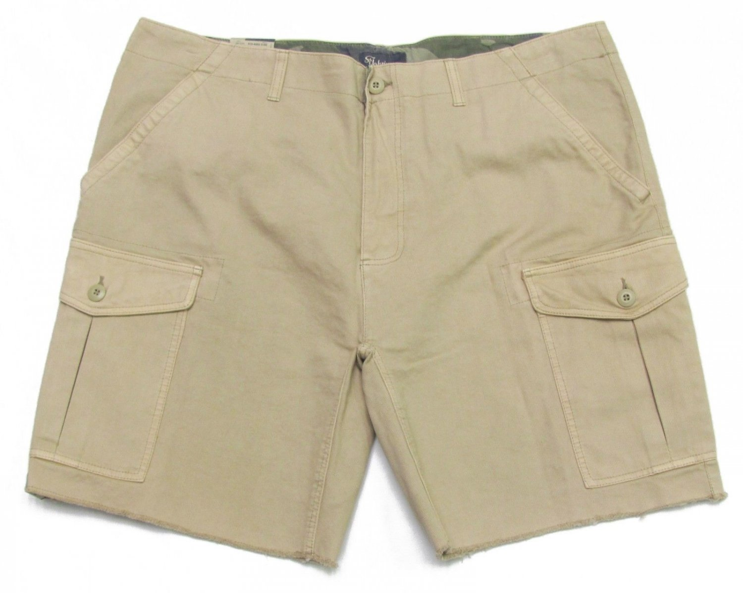 St Johns Bay Mens Size 44 Cut-Off Cargo Shorts Toasted Almond Corduroy